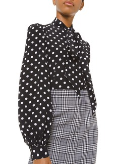 Michael Kors Silk Polka-Dotted Bowed Long-Sleeve Blouse