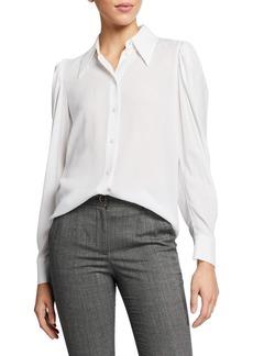 Michael Kors Silk Puff-Sleeve Shirt