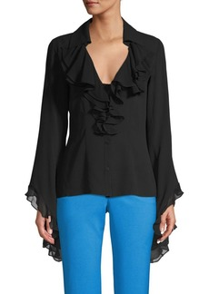 Michael Kors Silk Ruffle Bell-Sleeve Top