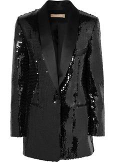Michael Kors Silk Satin-trimmed Sequined Crepe Tuxedo Jacket