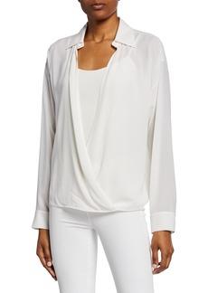 Michael Kors Silk Spread Collar Wrap Shirt