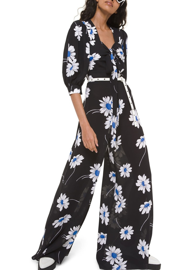 Michael Kors Silk Tie-Front Palazzo Jumpsuit