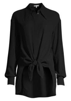 Michael Kors Silk Tie-Front Shirt