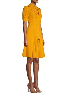 Michael Kors Silk Tie-Neck A-Line Dress