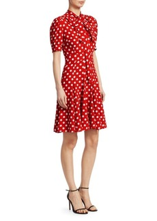 Silk Tie-Neck Polka Dot Dress