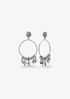 Michael Kors Silver-Tone Shell Hoop Earrings