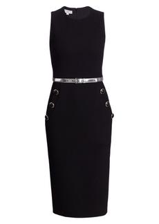 Michael Kors Sleeveless Belted Button Sheath Dress