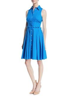 Michael Kors Sleeveless Button-Down Pindot Poplin Shirtdress w/ Pleating