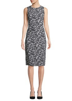 Michael Kors Sleeveless Crewneck Floral-Print Stretch-Cady Sheath Dress