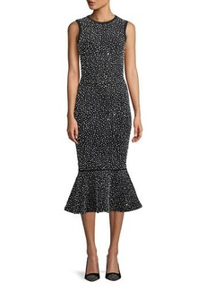 Michael Kors Sleeveless Crystal-Embroidered Stretch-Viscose Trumpet Cocktail Dress
