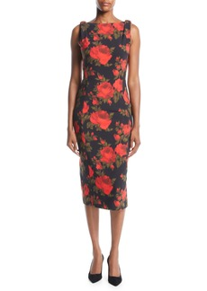 Michael Kors Sleeveless Floral-Print Midi Sheath Dress