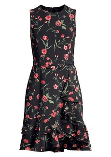 Michael Kors Sleeveless Floral Ruffled Sheath Dress