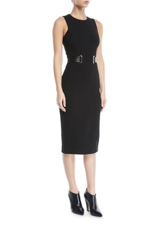 Michael Kors Sleeveless Jewel-Neck Boucle Crepe Midi Sheath Dress with Belt