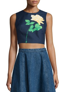 Michael Kors Sleeveless Rose Crop Top
