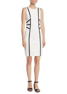 Michael Kors Sleeveless Stretch-Boucle Crepe Dress w/ Leather Trim