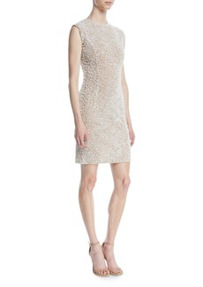 Michael Kors Sleeveless Stretch-Tulle Crystal-Embroidered Cocktail Dress
