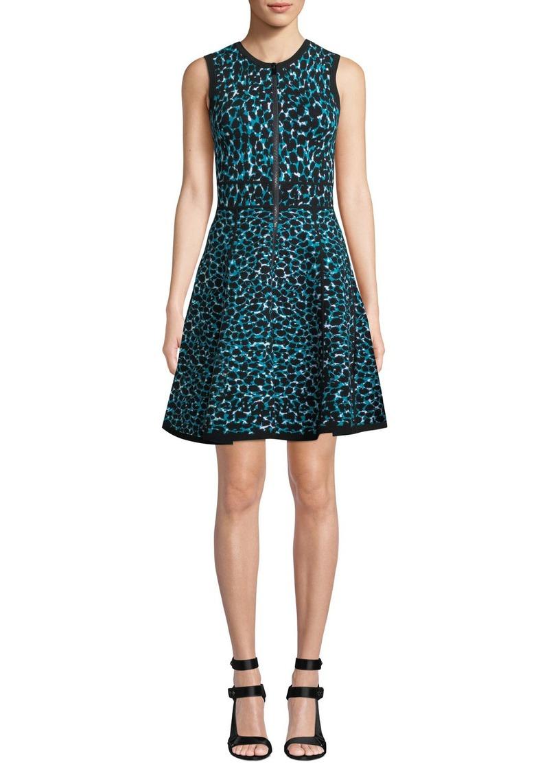 Michael Kors Sleeveless Zip-Front Fit-and-Flare Leopard-Print Dress w/ Paneled Full Skirt
