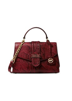 MICHAEL Michael Kors Small Bleecker Python-Embossed Leather Satchel