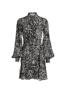 Michael Kors Speckled Crepe De Chine Shirtdress