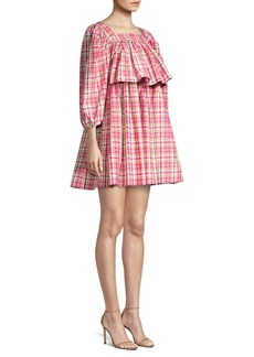 Michael Kors Square Neck Puff-Sleeve Madras Dress