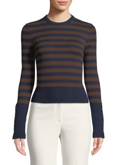 Michael Kors Starlet Cashmere Striped Button-Sleeve Sweater