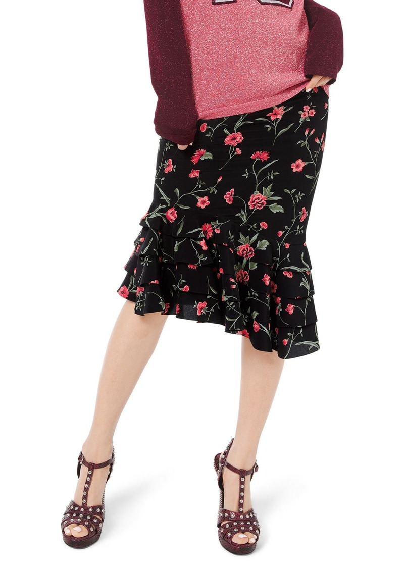 Michael Kors Stemmed Floral Crepe de Chine Rumba Skirt