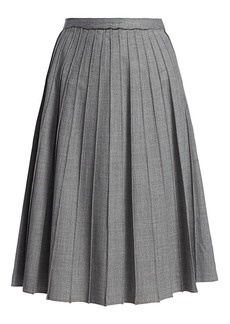 Michael Kors Stretch Virgin Wool Pleated Midi Skirt