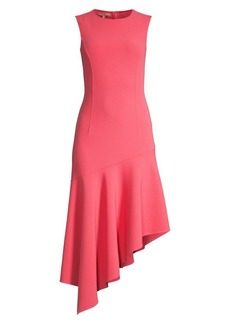 Michael Kors Stretch Wool Crepe Asymmetric-Hem Dress