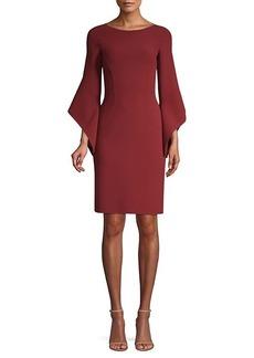 Michael Kors Stretch Wool Crepe Drape-Sleeve Sheath Dress