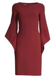 Michael Kors Stretch Wool Crepe Drape-Sleeve Sheath Dress