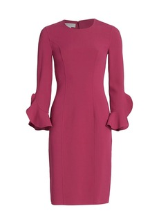 Michael Kors Stretch Wool Crepe Ruffle-Sleeve Sheath Dress