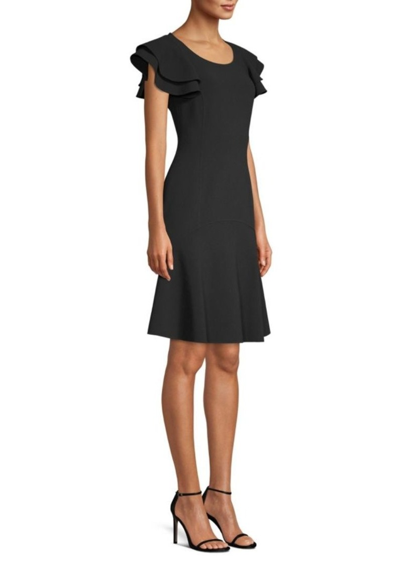 Michael Kors Stretch-Wool Flutter Sleeve Flare Dress