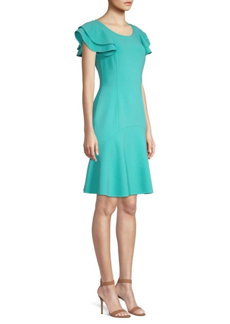 Michael Kors Stretch-Wool Flutter Sleeve Flare Dress