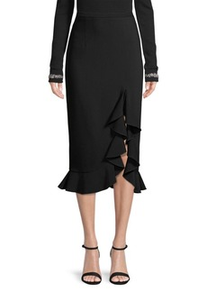Michael Kors Stretch-Wool Ruffled Pencil Skirt