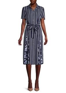 Michael Kors Striped Belted Shirtdress