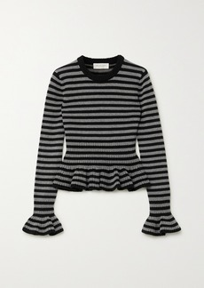 Michael Kors Striped Cashmere Peplum Top