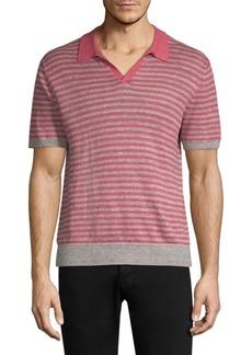 Michael Kors Striped Linen Sweater Polo