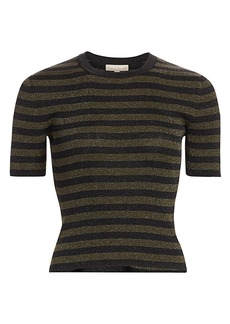 Michael Kors Striped Lurex Rib-Knit Cropped Tee