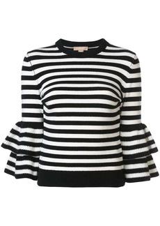 Michael Kors striped peplum sleeve sweater