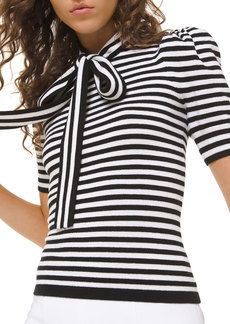 Michael Kors Striped Puff-Sleeve Bowed Blouse