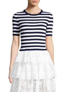 Michael Kors Striped Ribbed Crewneck Tee