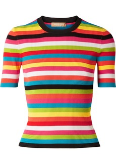 Michael Kors Striped Ribbed-knit Top