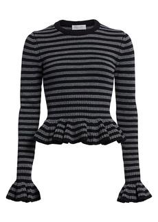 Michael Kors Striped Ruffle Peplum Cashmere Knit Sweater