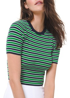 Michael Kors Striped Short-Sleeve Sweater
