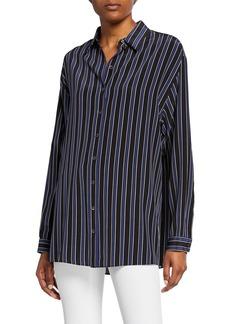 Michael Kors Striped Silk Button-Front Shirt
