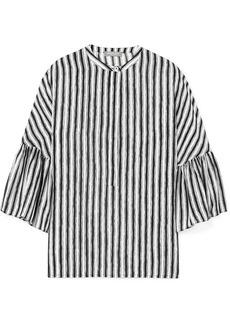 Michael Kors Striped Silk-crepe Blouse