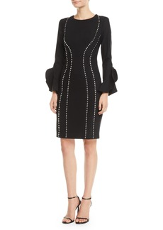 Michael Kors Studded Bell-Sleeve Crepe Dress