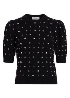 Michael Kors Studded Cashmere Short-Sleeve Pullover Sweater