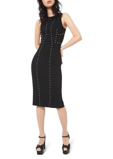 Michael Kors Studded Pebble-Crepe Dress