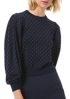 Michael Kors Studded Pleated-Sleeve Wool Sweater